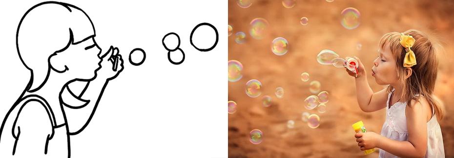 Детская фотосъемка с мыльными пузырями
