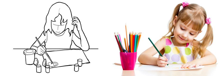 Фотография ребенок за рисованием